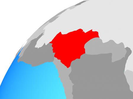 Bolivia on globe. 3D illustration.