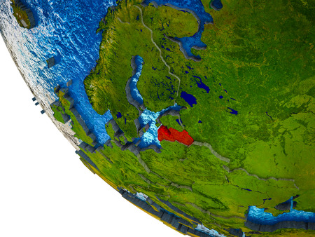 Latvia on model of Earth with country borders and blue oceans with waves. 3D illustration.