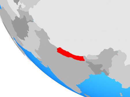 Nepal on simple globe. 3D illustration. Фото со стока