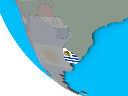 Uruguay with embedded national flag on simple 3D globe. 3D illustration. Imagens