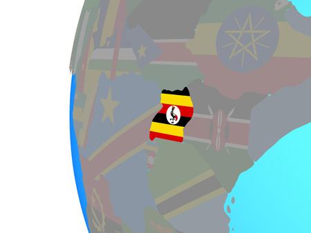 Uganda with embedded national flag on blue political globe. 3D illustration.