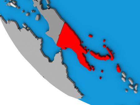 Papua New Guinea on simple 3D globe. 3D illustration.