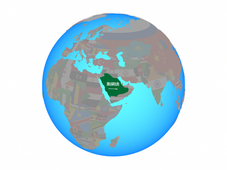 Saudi Arabia with national flag on blue political globe. 3D illustration isolated on white background.