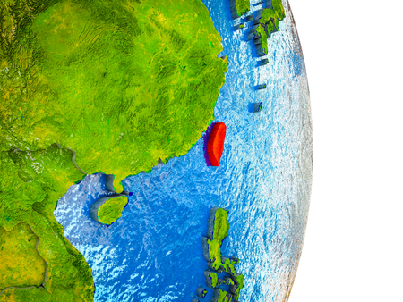 Taiwan on 3D model of Earth with divided countries and blue oceans. 3D illustration.