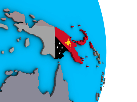 Papua New Guinea with embedded national flag on simple political 3D globe. 3D illustration.