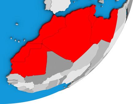 Maghreb region on blue political 3D globe. 3D illustration.