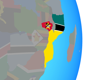 Mozambique with national flag on simple political globe. 3D illustration. Standard-Bild - 109751987