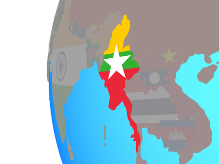 Myanmar with embedded national flag on blue political globe. 3D illustration.