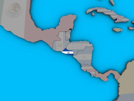 El Salvador with embedded national flag on blue political 3D globe. 3D illustration. Banco de Imagens