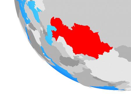 Kazakhstan on simple globe. 3D illustration. Stock Photo