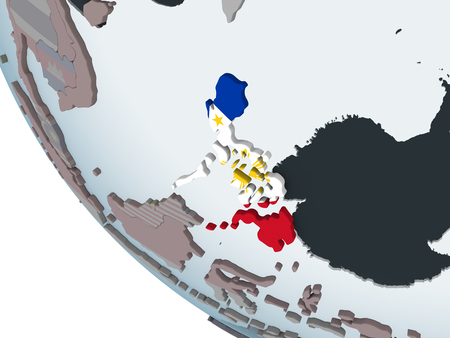 Philippines on political globe with embedded flag. 3D illustration.