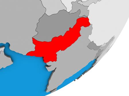 Pakistan on blue political 3D globe. 3D illustration. Фото со стока