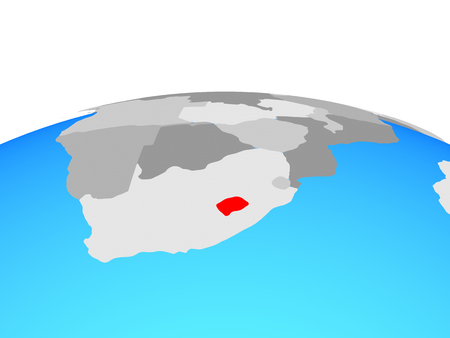 Lesotho on political globe. 3D illustration. Stock Photo