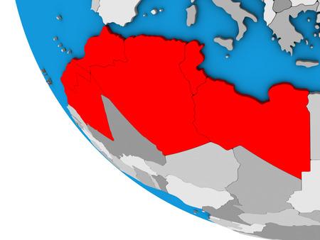 Maghreb region on simple 3D globe. 3D illustration.