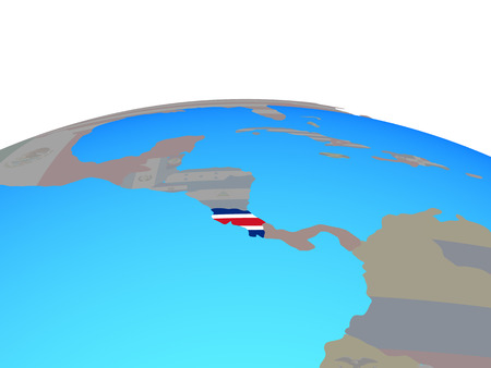Costa Rica with national flag on political globe. 3D illustration. 写真素材