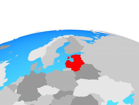 Baltic States on political globe. 3D illustration.
