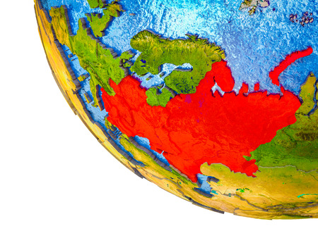 Eastern Europe on model of Earth with country borders and blue oceans with waves. 3D illustration.