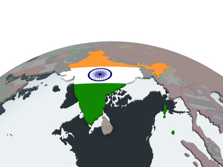 India on political globe with embedded flag. 3D illustration. Banque d'images