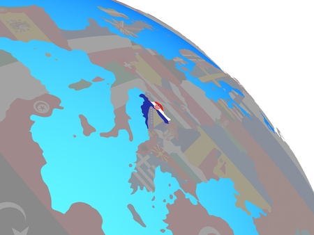 Croatia with national flag on simple blue political globe. 3D illustration.