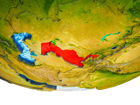 Uzbekistan on 3D Earth with divided countries and watery oceans. 3D illustration.