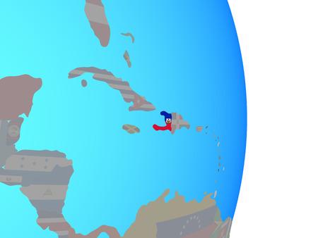 Haiti with national flag on simple political globe. 3D illustration.