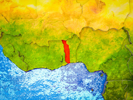 Togo on model of 3D Earth with blue oceans and divided countries. 3D illustration. Stock Photo