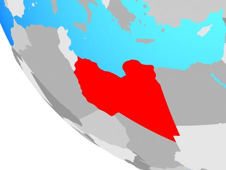 Libya on simple globe. 3D illustration.
