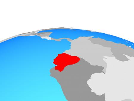Ecuador on political globe. 3D illustration.
