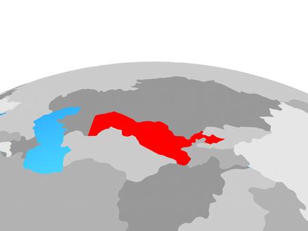 Uzbekistan on political globe. 3D illustration. Stock Photo