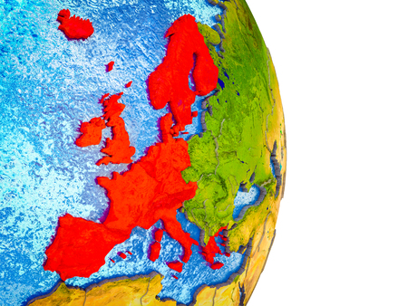 Western Europe on 3D model of Earth with divided countries and blue oceans. 3D illustration.