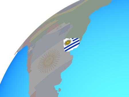 Uruguay with embedded national flag on globe. 3D illustration.