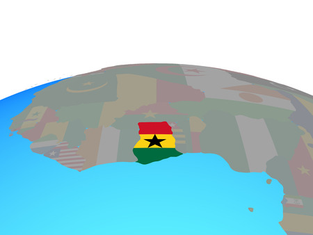 Ghana with national flag on political globe. 3D illustration.
