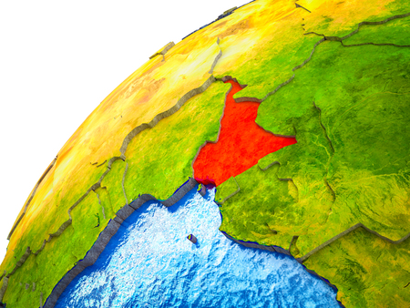 Cameroon on 3D Earth model with visible country borders. 3D illustration.