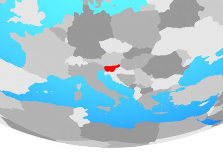 Slovenia on simple political globe. 3D illustration.