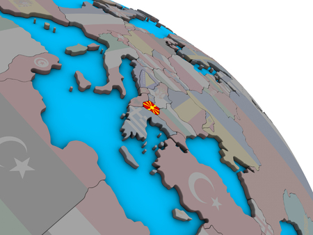 Macedonia with embedded national flag on simple blue political 3D globe. 3D illustration. Stockfoto - 109753809