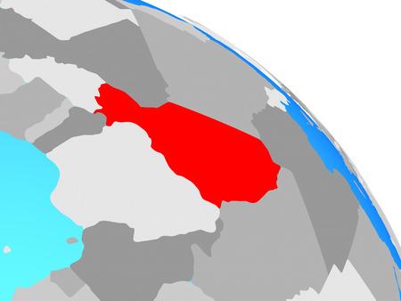Niger on simple blue political globe. 3D illustration.