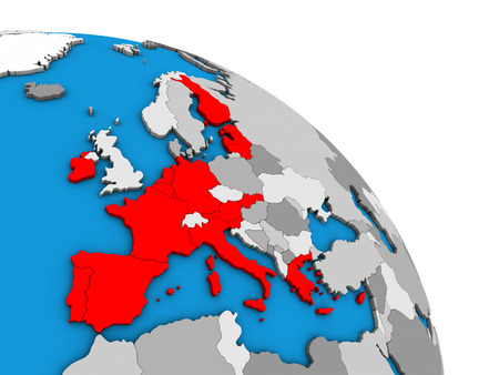 Eurozone member states on simple blue political 3D globe. 3D illustration.