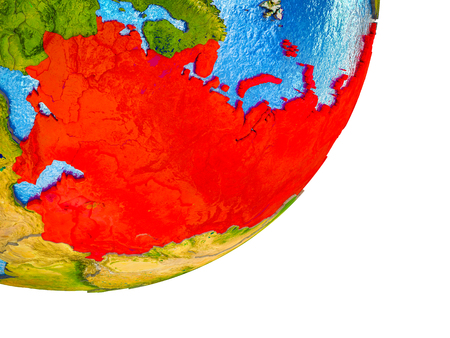 Former Soviet Union on 3D model of Earth with water and divided countries. 3D illustration.