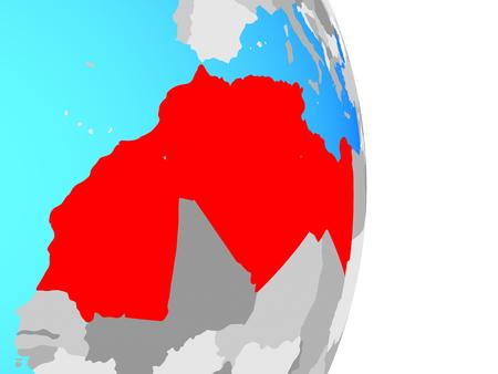 Maghreb region on simple political globe. 3D illustration. Stock Photo