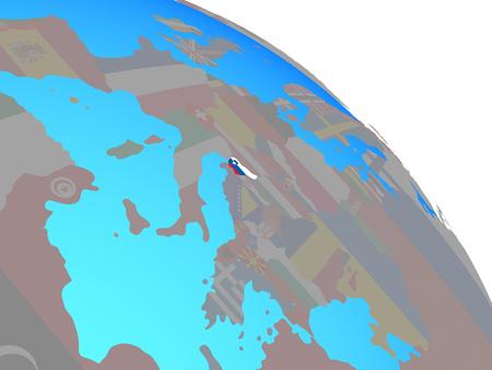 Slovenia with national flag on simple blue political globe. 3D illustration.