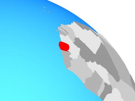 Sierra Leone on simple blue political globe. 3D illustration.