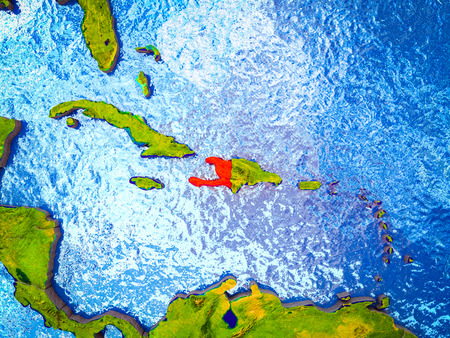 Haiti on model of 3D Earth with blue oceans and divided countries. 3D illustration.