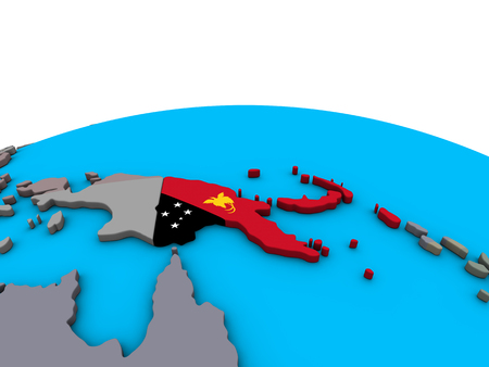 Papua New Guinea with embedded national flag on political 3D globe. 3D illustration.