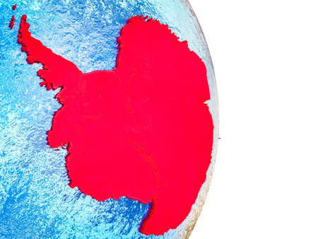 Antarctica on 3D model of Earth with divided countries and blue oceans. 3D illustration. Stok Fotoğraf