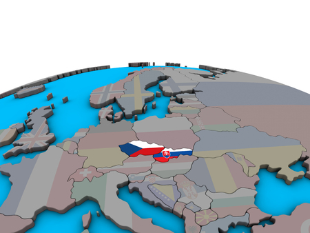 Former Czechoslovakia with embedded national flags on political 3D globe. 3D illustration.