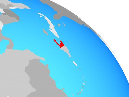 Haiti on simple blue political globe. 3D illustration.