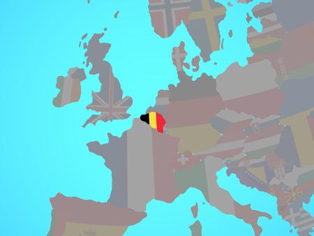 Belgium with national flag on blue political globe. 3D illustration. Imagens