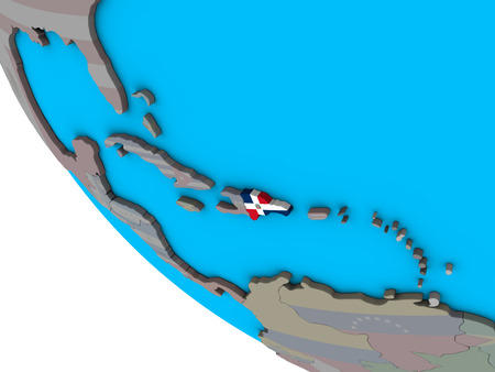 Dominican Republic with embedded national flag on simple 3D globe. 3D illustration. 스톡 콘텐츠