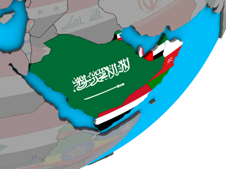 Arabia with national flags on blue political 3D globe. 3D illustration. Stock Photo