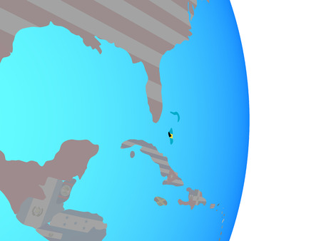 Bahamas with national flag on simple political globe. 3D illustration.